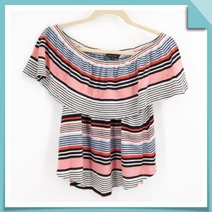 New Look Over the Shoulder Striped Top Size 6
